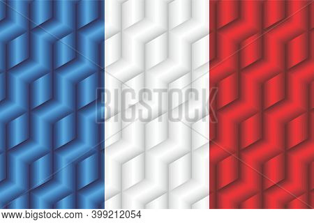 France Flag From Many Cubes - Illustration,  Three Dimensional Flag Of France