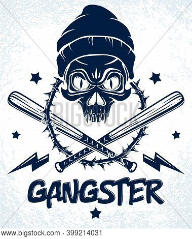 Gang Brutal Criminal Emblem Or Logo With Aggressive Skull Baseball Bats And Other Weapons And Design