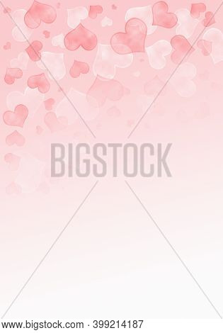 Abstract Bright Pink Background With Blurred Hearts. Illustration With Hearts For Valentine\'s Day