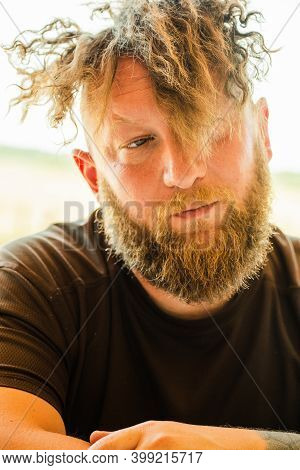 Close Up Portrait Of Fashionable Redhead Hipster Man With Fuzzy Beard. Redhead Man.portrait Of A Guy