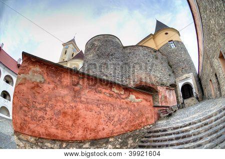 View of old Palanok Castle or Mukachevo Castle Ukraine built in 14th century poster
