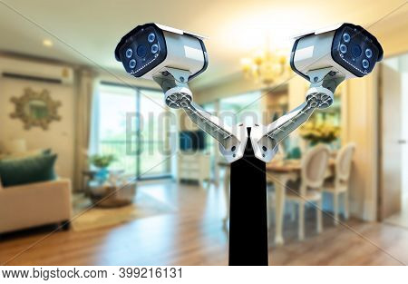 Cctv Camera System Take A Photo In The Room For Security. In-house, Wifi Technology, 24-hour Interne