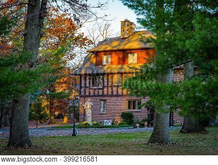 Essex County Kip S Castle Park, Nj - November 9, 2020: Kips Castle New Jersey, Usa