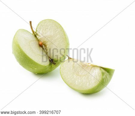 Three Quarters Of  Whole Fresh Juicy Green Apple And Slice Close-up Isolated On White Background