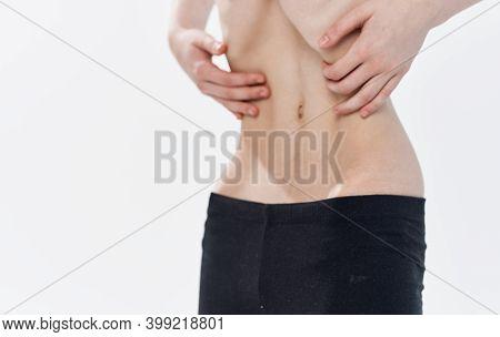 Slim Woman Narrow Waist Black Leggings Calories Ribs Anorexia Diet