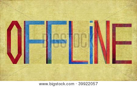 Earthy background image and design element depicting the word OFFLINE