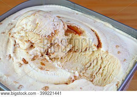 Closeup Mouthwatering Texture Of Salted Caramel Macadamia Nut Ice Cream