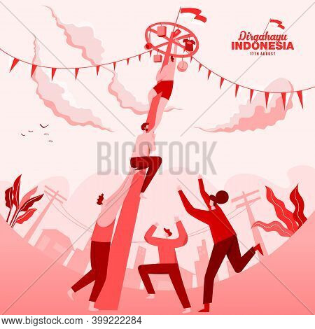 Indonesia Independence Day Greeting Card With Traditional Games Concept Illustration. Dirgahayu Indo