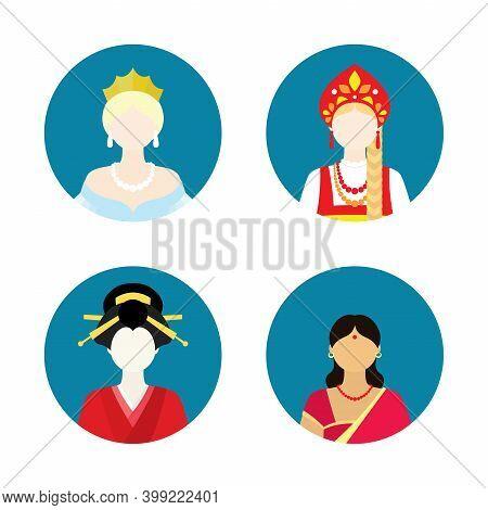 Flat Women Historical Set On White Background.