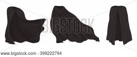 Black Realistic Cape. 3d Superhero Or Vampire Cloak. Waving Mantle With Hood. Dreamlike Character Fe