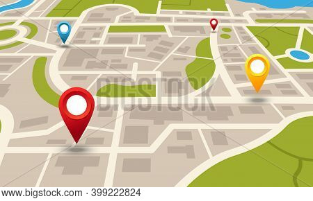 City Map. Navigation Plan With Pointers. Location And Transport Moving Direction. Layout Of Houses A