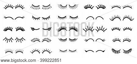 Cartoon Eye. Outline Cute Eyelashes. Black Contour Minimalistic Sketch Of Long Curved Female Lashes.