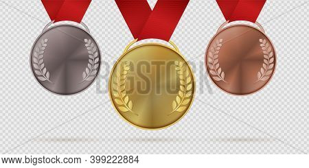 Gold Silver And Bronze Trophy Medals. First, Second, Third Place Realistic Medal With Laurel Leaves