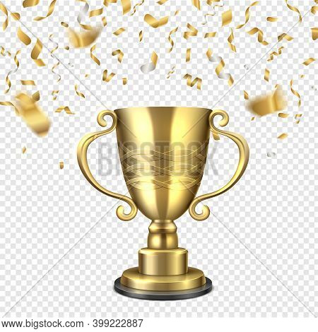 Golden Cup Falling Confetti. Champion Gold Trophy, Championship Winners Golden Sports Or Music Award