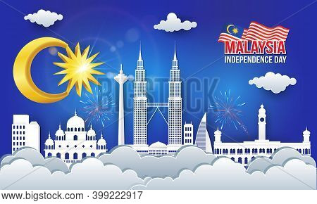 Vector Illustration Of Malaysia Independence Day Celebration With City Skyline, Malaysia Flag In Pap