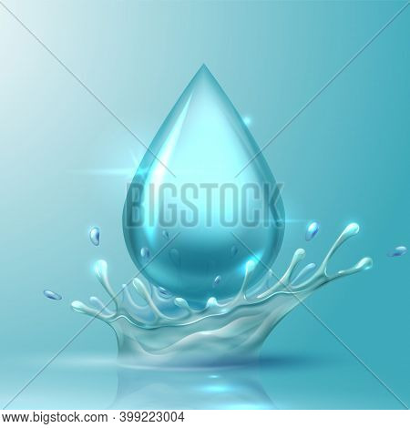 Water Drop. Realistic Aqua Splash, 3d Shiny Drop With Spray From Falling. Glossy Droplet And Smooth