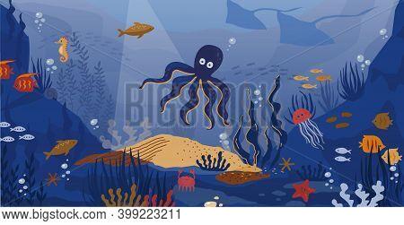 Ocean Underwater. Cartoon Sea Animals And Seaweeds. Undersea Landscape. Funny Marine Fish And Octopu
