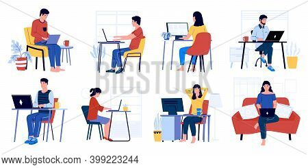 Business Characters Working. Cartoon Men And Women Sitting In Office And At Home With Laptop And Wor