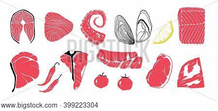 Meat Cuts. Doodle Beef Or Pork, Chicken And Fish. Steaks And Filet, Or Tomatoes, Pieces Of Lemon. Is