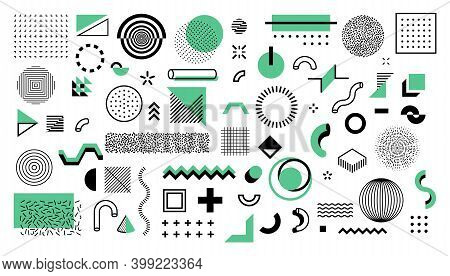 Minimal Memphis Shapes. Abstract Geometric Graphic Elements. Black And Green Figures, Dots And Lines