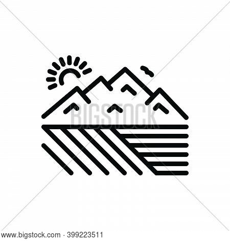Black Line Icon For Extensive Valley Canyon Stilted Far-flung Large Large-scale Sizeable Mountain Mo