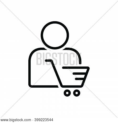 Black Line Icon For Customer Client Subscriber Consumer Cart Shopping Clientele Underwriter Purchase