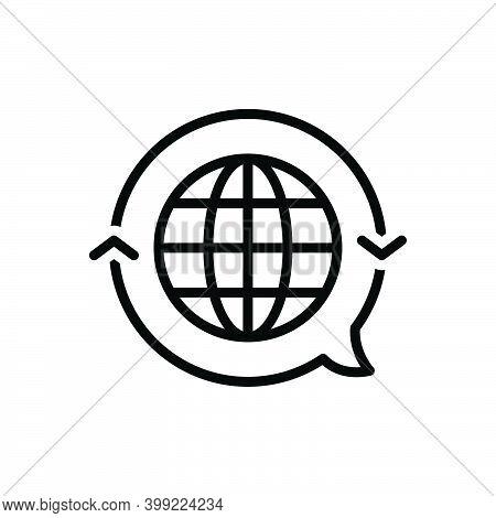 Black Line Icon For Translate Globe International Render Retranslate Interpret Clarify Convert Langu