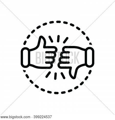 Black Line Icon For Critic Commentator Columnist Reviewer Customer Review Dislike Intelligence Analy