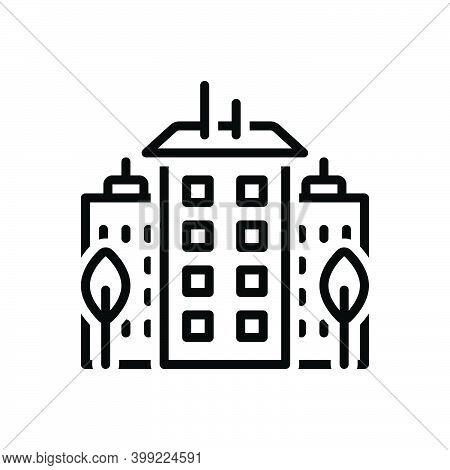 Black Line Icon For Downtown Center City Midtown Apartment Architecture Building Construction Home H