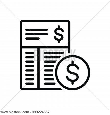Black Line Icon For Expense Expenditure Outgoings Calculation Cost Value Price Amount Budget Payment