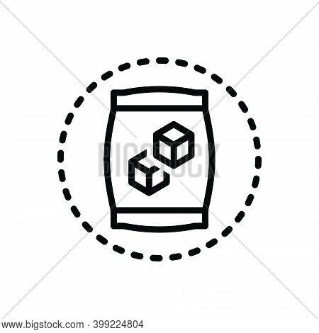 Black Line Icon For Sugar Carbohydrate Candy Sugar-cubes Editable Sweet Sugar-bag