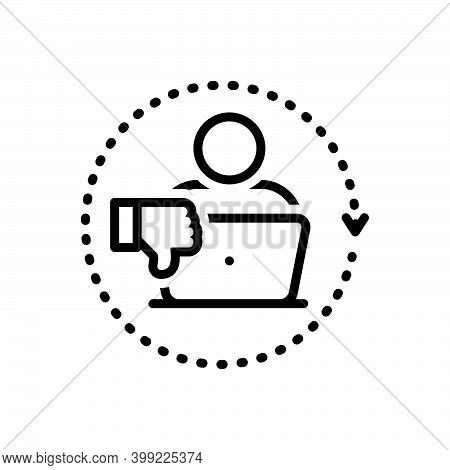 Black Line Icon For Criticism Concept Critic Work Employee Unlike Thumb-down Negative Laptop
