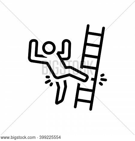Black Line Icon For Slip Slip-and-fall Fall Injury Mistake Ladder Tripping-on-stairs Accident