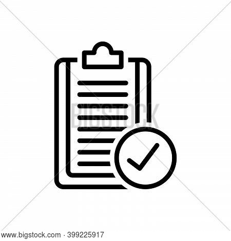 Black Line Icon For Apply Proceed Form Resume Accept Agreement Checklist Confirm Approved