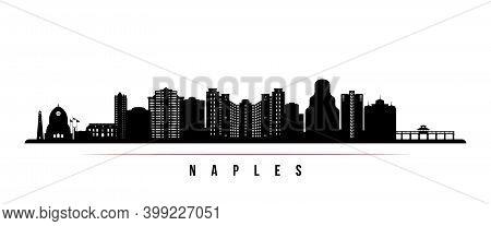 Naples Skyline Horizontal Banner. Black And White Silhouette Of Naples City, Florida. Vector Templat