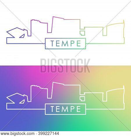 Tempe, Arizona Skyline. Colorful Linear Style. Editable Vector File.
