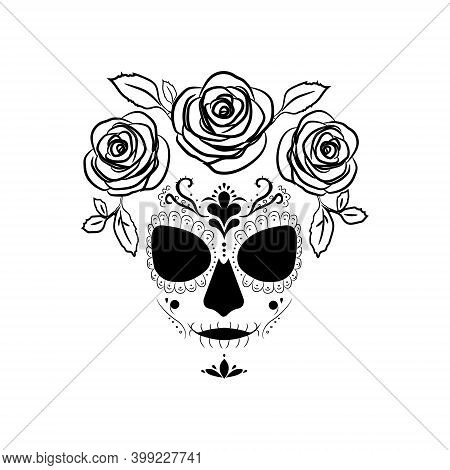 Death Image Of Santa Muerte With Roses. Modern Pagan Cult In Mexico.