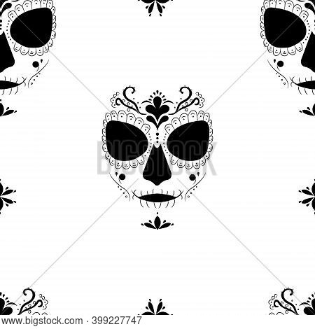 Deadly Image Of Santa Muerte On A White. Seamless Pattern For Fashion Prints, Fabrics,  Wrapping Pap