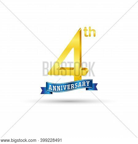 4th Golden Anniversary Logo With Blue Ribbon Isolated On White Background. 3d Gold Anniversary Logo