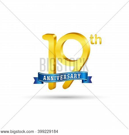 19th Golden Anniversary Logo With Blue Ribbon Isolated On White Background. 3d Gold Anniversary Logo