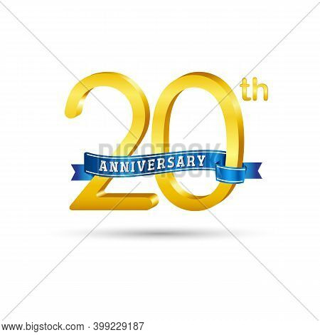 20th Golden Anniversary Logo With Blue Ribbon Isolated On White Background. 3d Gold Anniversary Logo