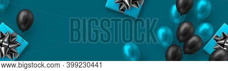 Glossy Balloons In Blue And Black Colors With Gift Box. Vector Balloons Background For Holidays Or B