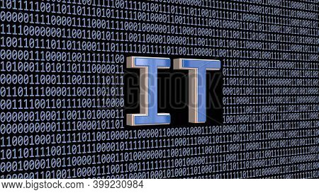 It Sign Integrated Into Wall Of Binary Code Colored In Light Blue On Black Background - Information