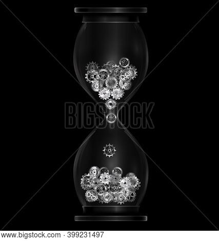 Vector Illustration Dark Background With Black Hourglass With Gears
