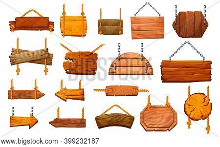 Set Of Wooden Pillars Signboards Hanging On Ropes And Metal Chains Isolated. Information Posts, Sign