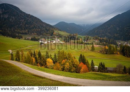 Santa Maddalena village with magical Dolomites mountains in background, Val di Funes valley, Trentino Alto Adige region, Italy, Europe