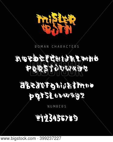 Fiery Font. Burning Letters. Lettering. Letters And Numbers. English Fire Alphabet On A Black Backgr