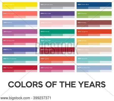 Trending Colors Of Years. Popular Color Shades. Creative Colour Palettes For Art And Business. Vecto