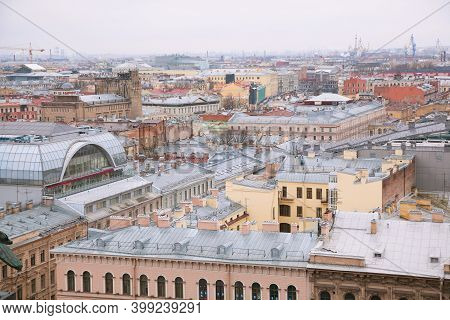 Saint Petersburg, Russia - Nov 26, 2017: View Of The Roofs Of St. Petersburg From The Observation De