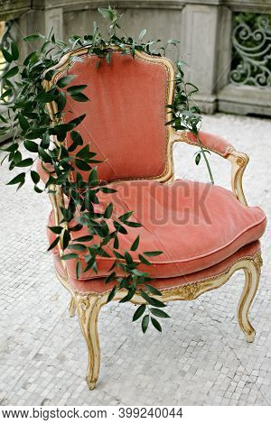 Vintage Chair, Balcony Grey With Flowers, Leaves On Chair, Red Chair, Balcony Chair
